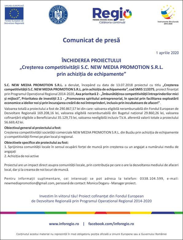 Comunicat de presa Inchiderea proiectului Cresterea competitivitatii S.C. New Media Promotion S.R.L 01-04-2020