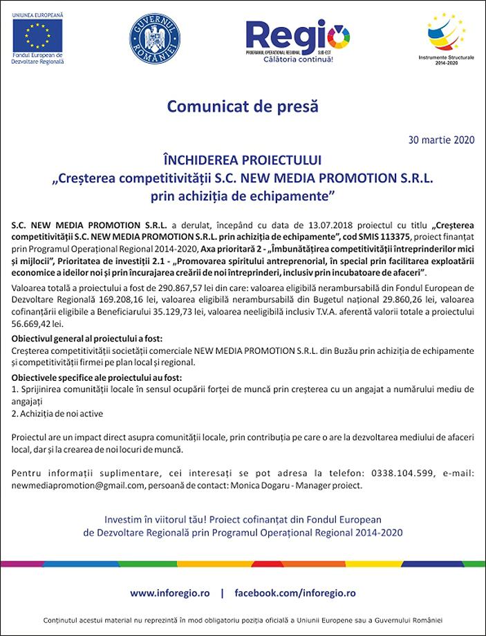 Comunicat de presa Inchiderea proiectului Cresterea competitivitatii S.C. New Media Promotion S.R.L 30-03-2020