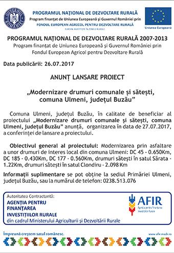 anunt Ulmeni lansare proiect
