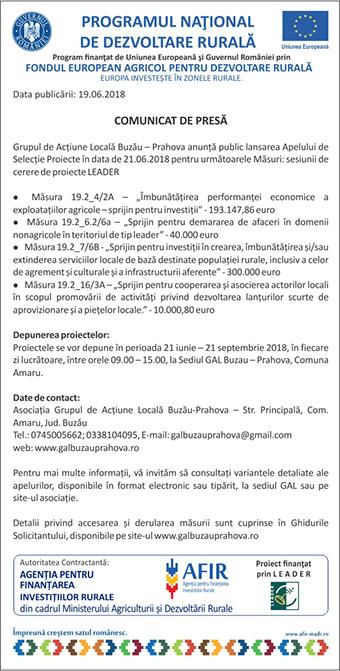 comunicat GAL Buzau Prahova 19-07-2018