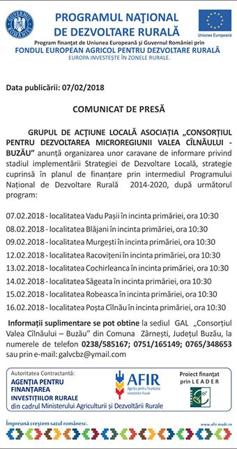 comunicat GAL Valea Cilnaului Buzau 07 februarie 218