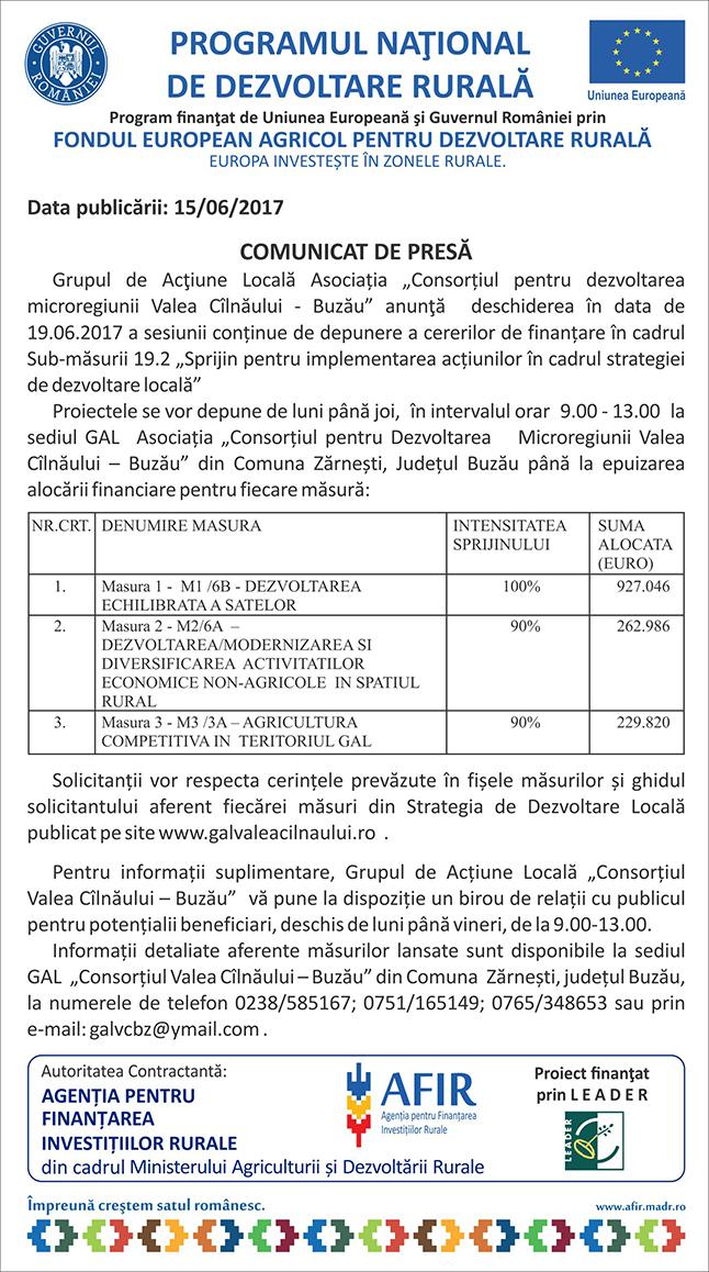 comunicat GAL Valea Cilnaului Buzau 15-06-2017