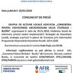 comunicat GAL Valea Cilnaului Buzau 26 ianuarie 2018