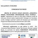 comunicat GAL Valea Cilnaului Buzau 27 ianuarie 2018