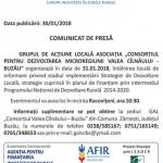 comunicat GAL Valea Cilnaului Buzau 31 ianuarie 2018