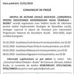 comunicat GAL Valea Cilnaului Buzau 31 ianuarie 2018 - program intalniri locale