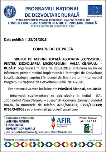 comunicat GAL Valea Cilnaului Buzau ianuarie 2018