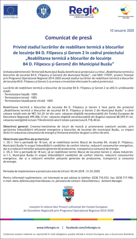 comunicat Reabilitarea termica a blocurilor de locuinte B4 10 ianuarie