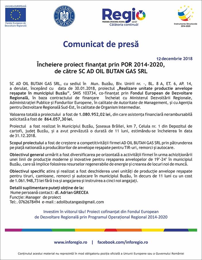 comunicat SC AD OIL BUTAN GAS SRL 12 decembrie 2018