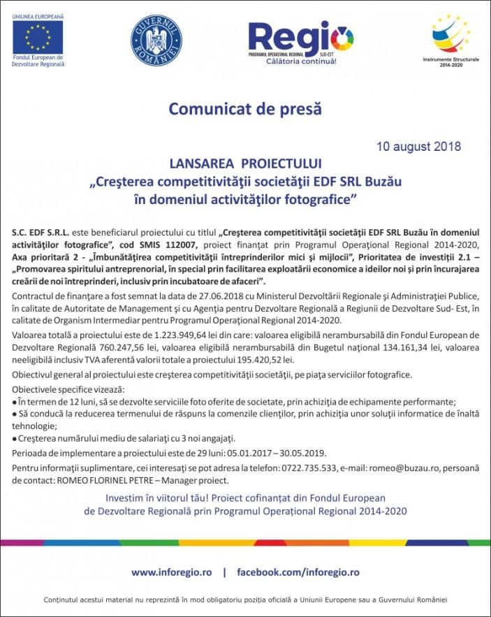 comunicat de presa EDF 10-08-2018