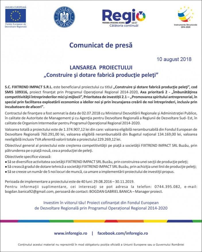 comunicat de presa FIXTREND 10-08-2018