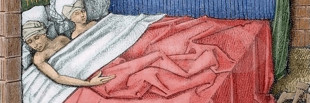 "Couple in bed. 15th century. Engraving of ""Miracles of Notre Dame"". France. Colored engraving. (Photo by: Prisma/UIG via Getty Images)"