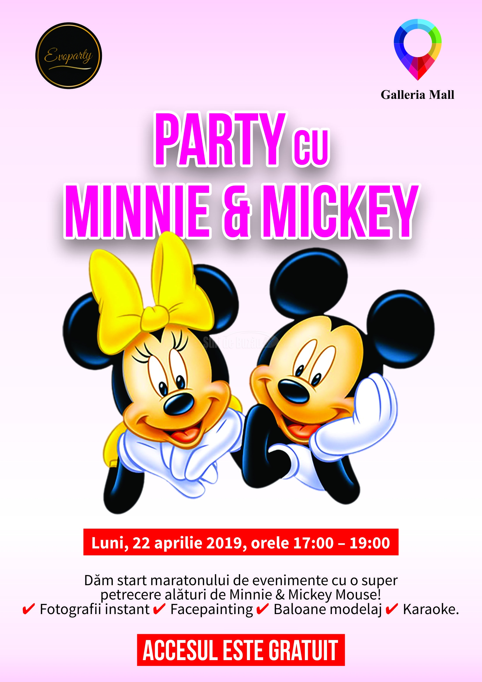 Afis Party cu Minnie & Mickey Mouse 2019