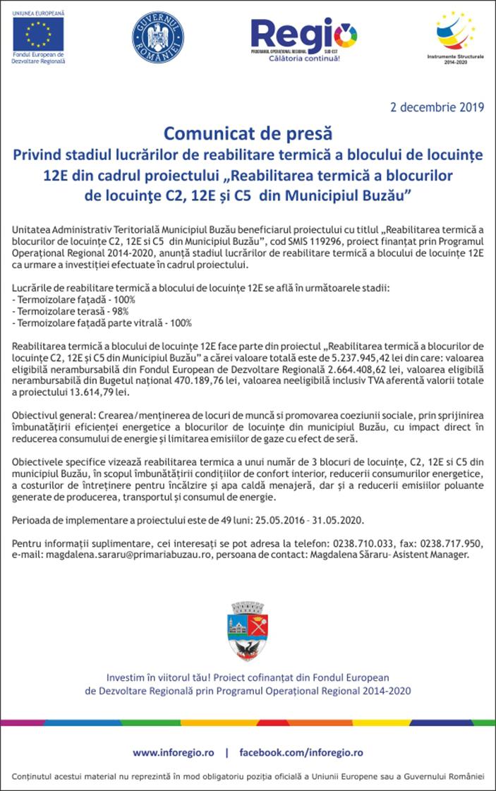comunicat Reabilitarea termica a blocurilor 12E