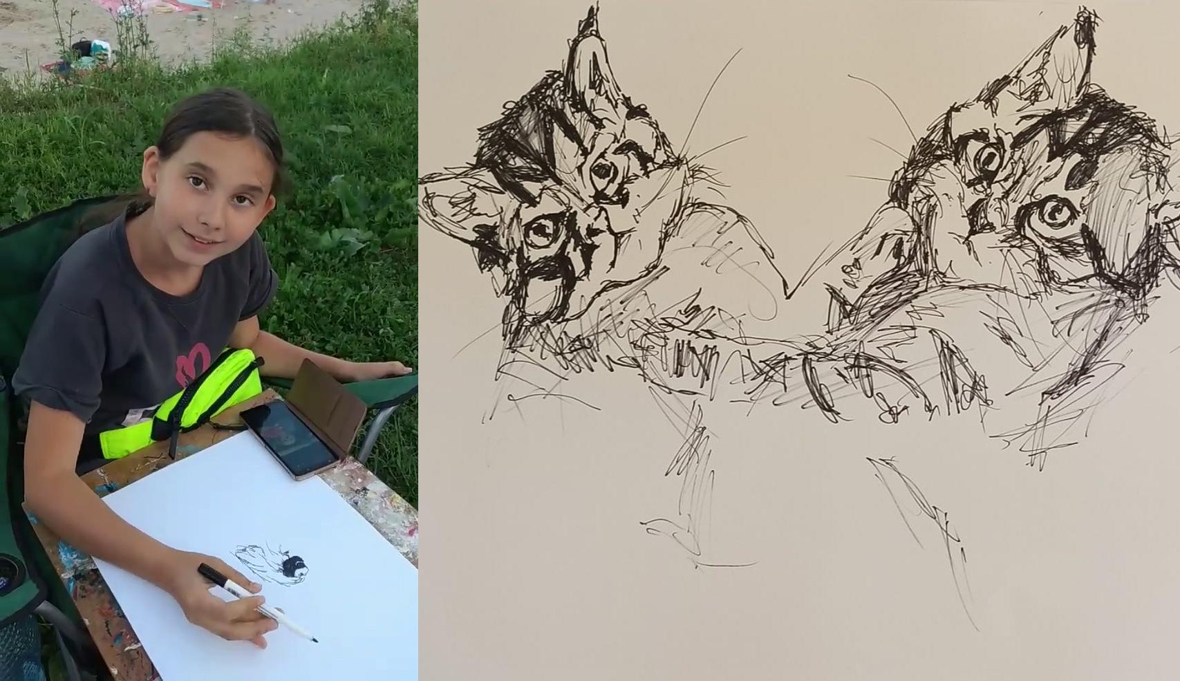 VIDEO O micuță artistă din Buzău desenează cățeii și pisicile turiștilor din Costinești